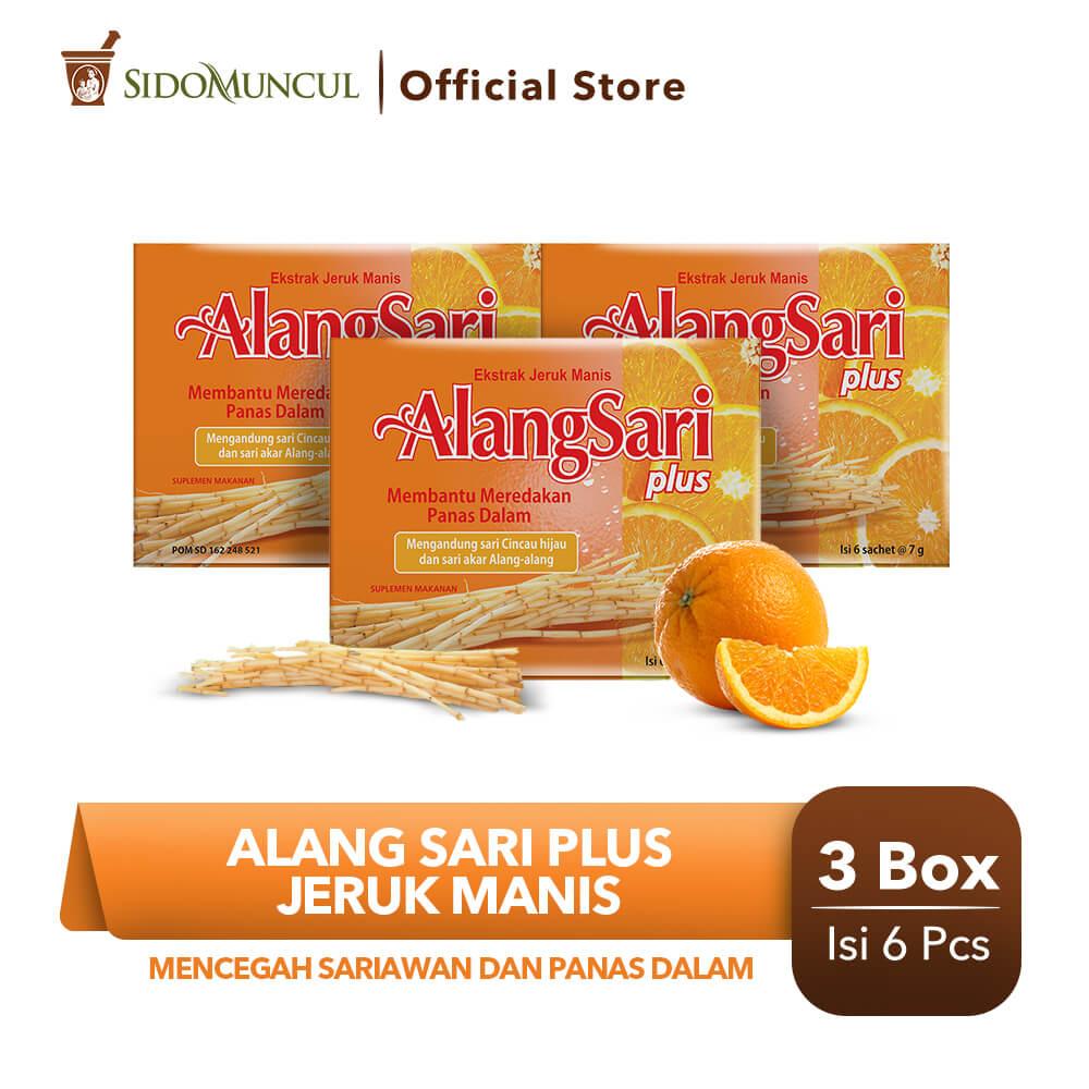Alang Sari Plus Jeruk Manis 3x6's - Mencegah Sariawan & Panas Dalam