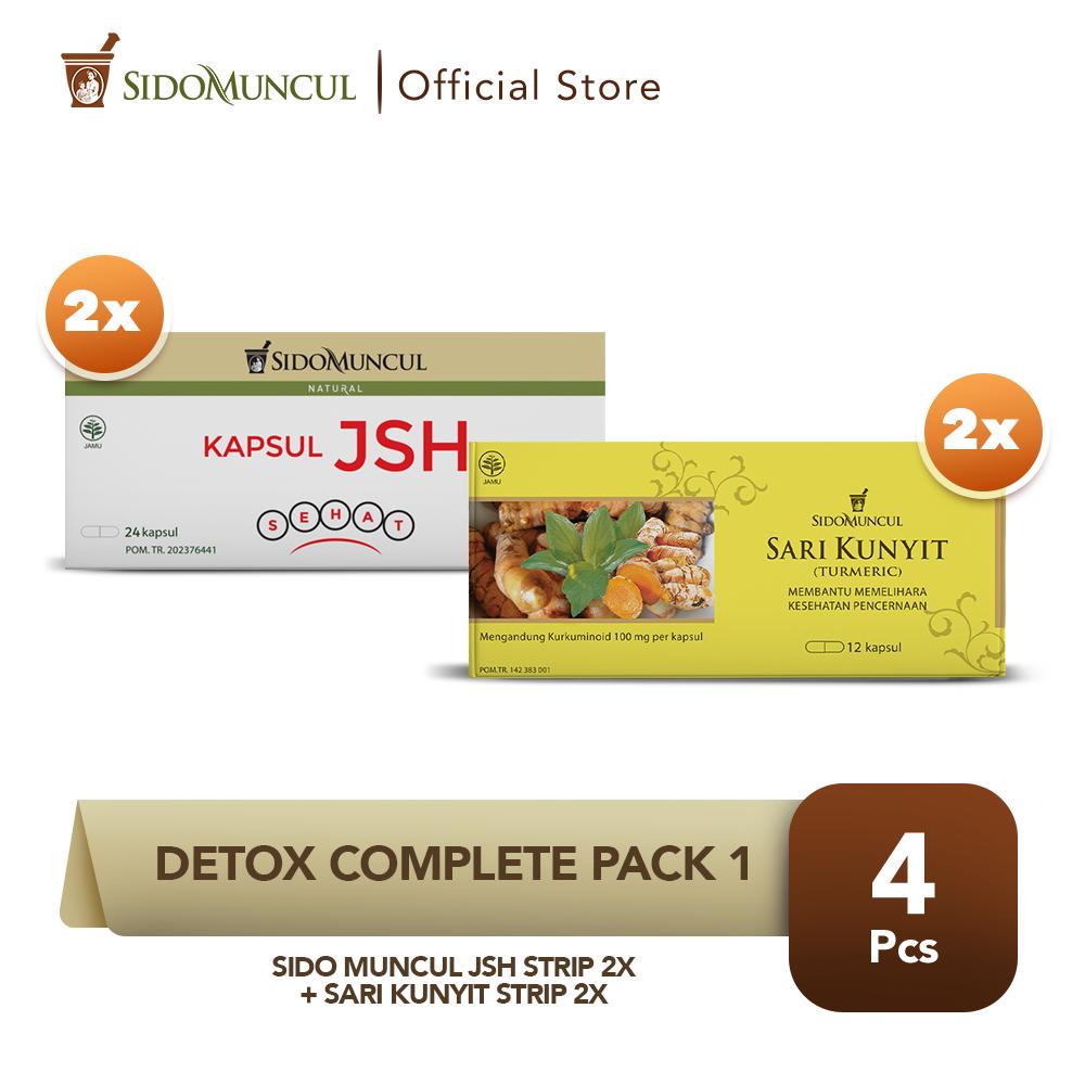 Detox Complete Pack 1- Sido Muncul JSH Strip 2x + Sari Kunyit Strip 2x