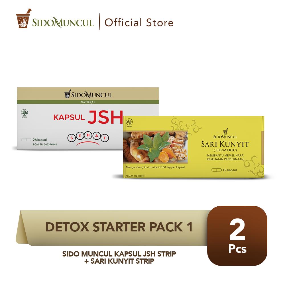 Detox Starter Pack 1- Sido Muncul Kapsul JSH Strip + Sari Kunyit Strip