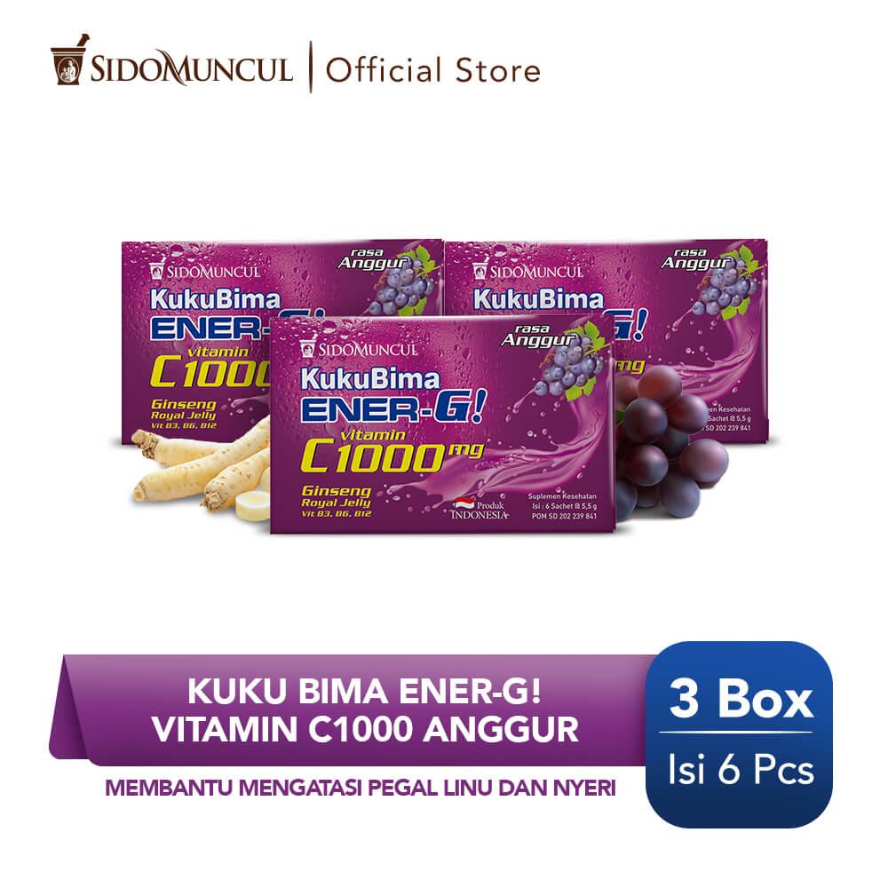 Kuku Bima Ener-G Vit C1000 Anggur 3x6's - Minuman Berenergi Vitamin