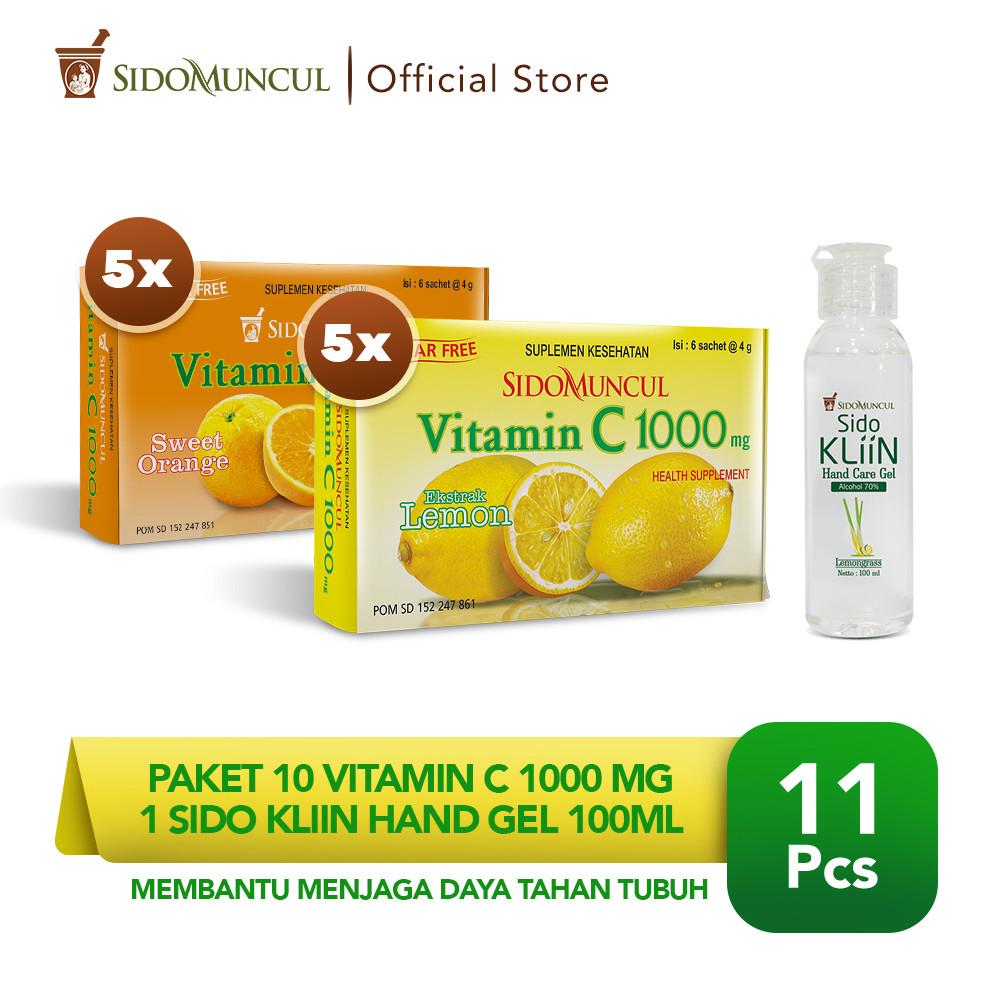 Paket 10 Vitamin C 1000 mg (5 Lemon + 5 Jeruk) + 1 Sido Kliin Hand Gel