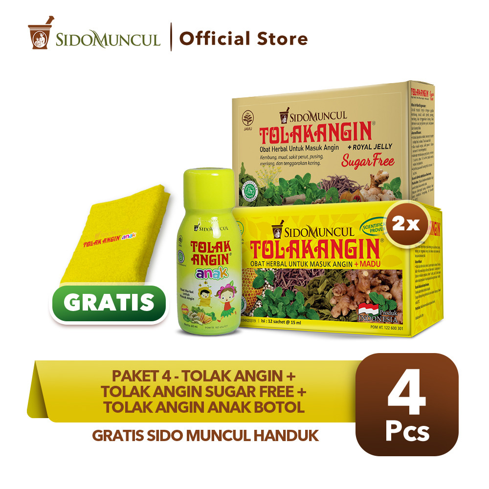 Paket 4 Tolak Angin Cair + TA Sugar GRATIS + TAA Kemasan Botol