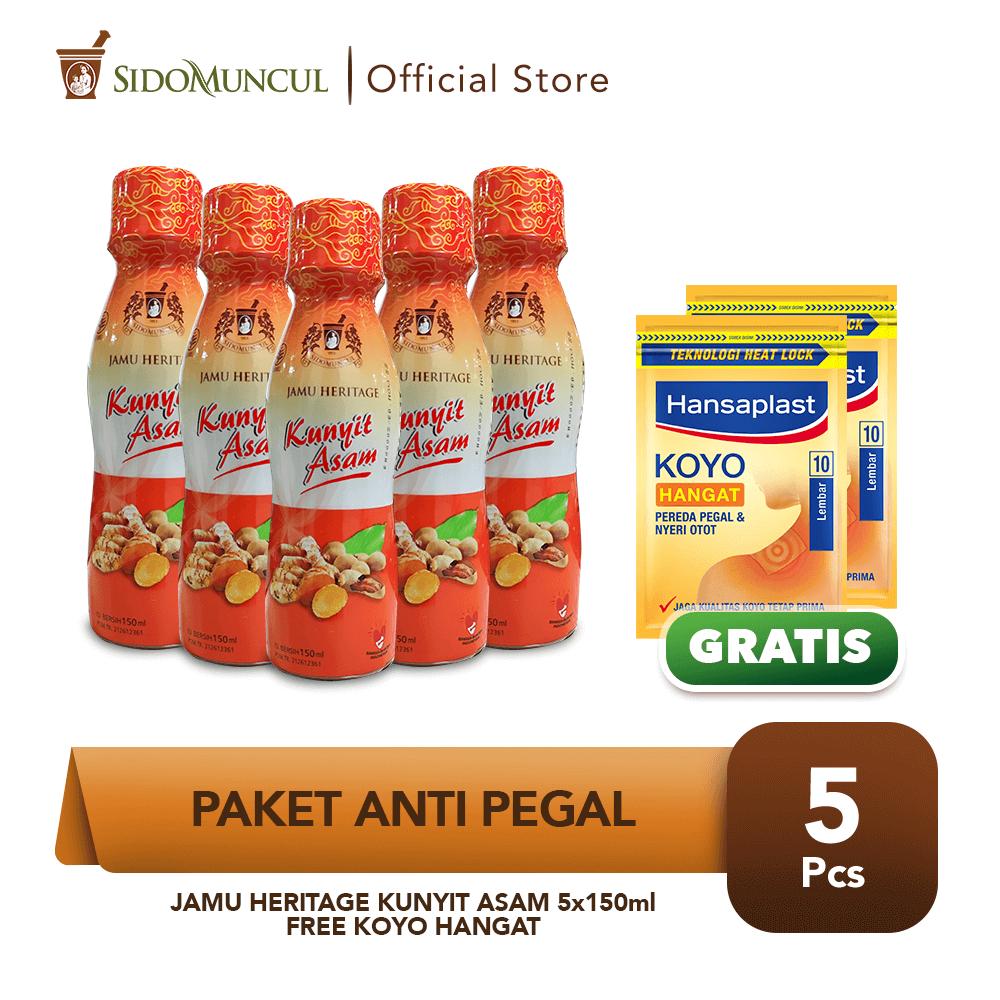 Paket Anti Pegal - Jamu Heritage Kunyit Asam 5x150ml FREE Koyo Hangat