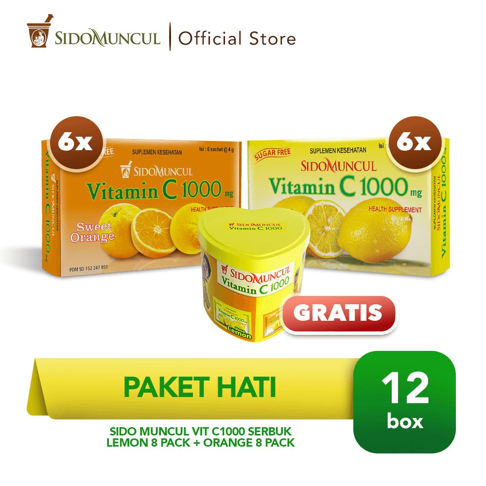 Paket Hati - Sido Muncul Vit C1000 Serbuk Lemon 6 Pack + Orange 6 Pack