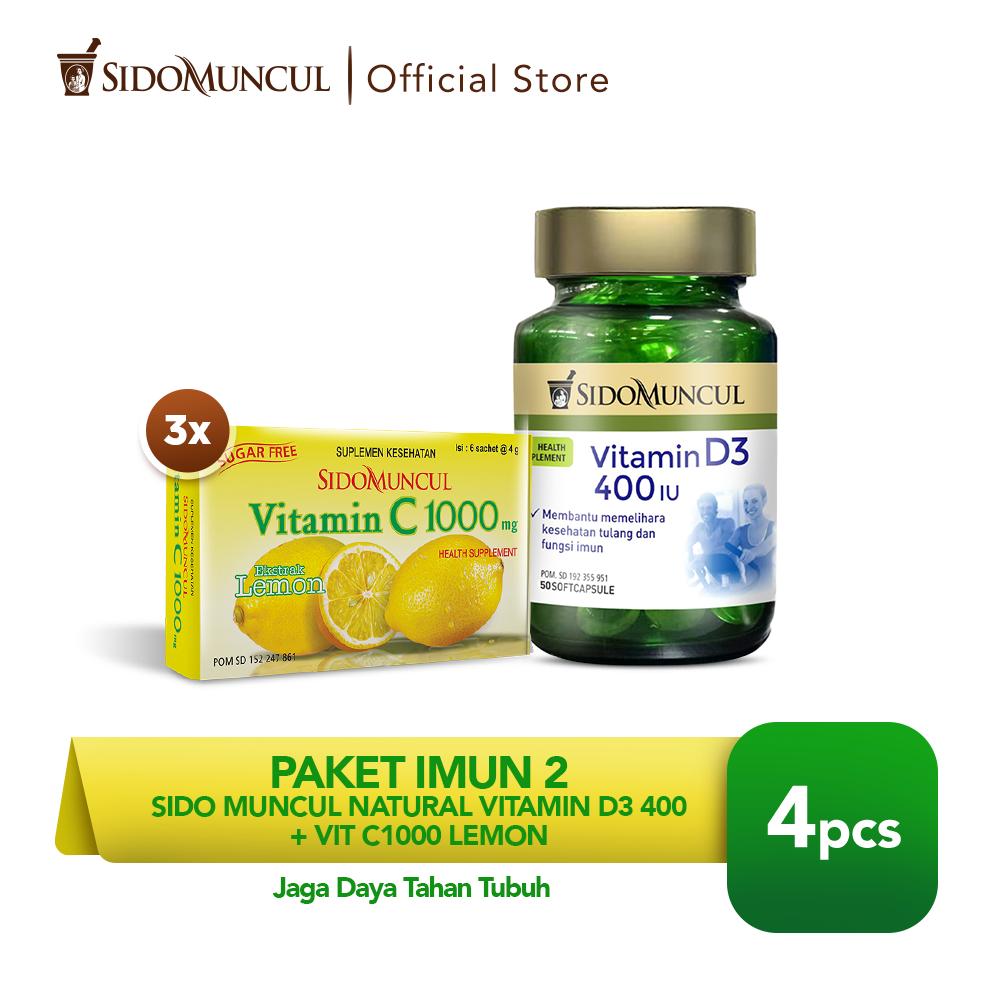 Paket Imun 2 - Sido Muncul Natural Vitamin D3 400 + Vit C1000 Lemon