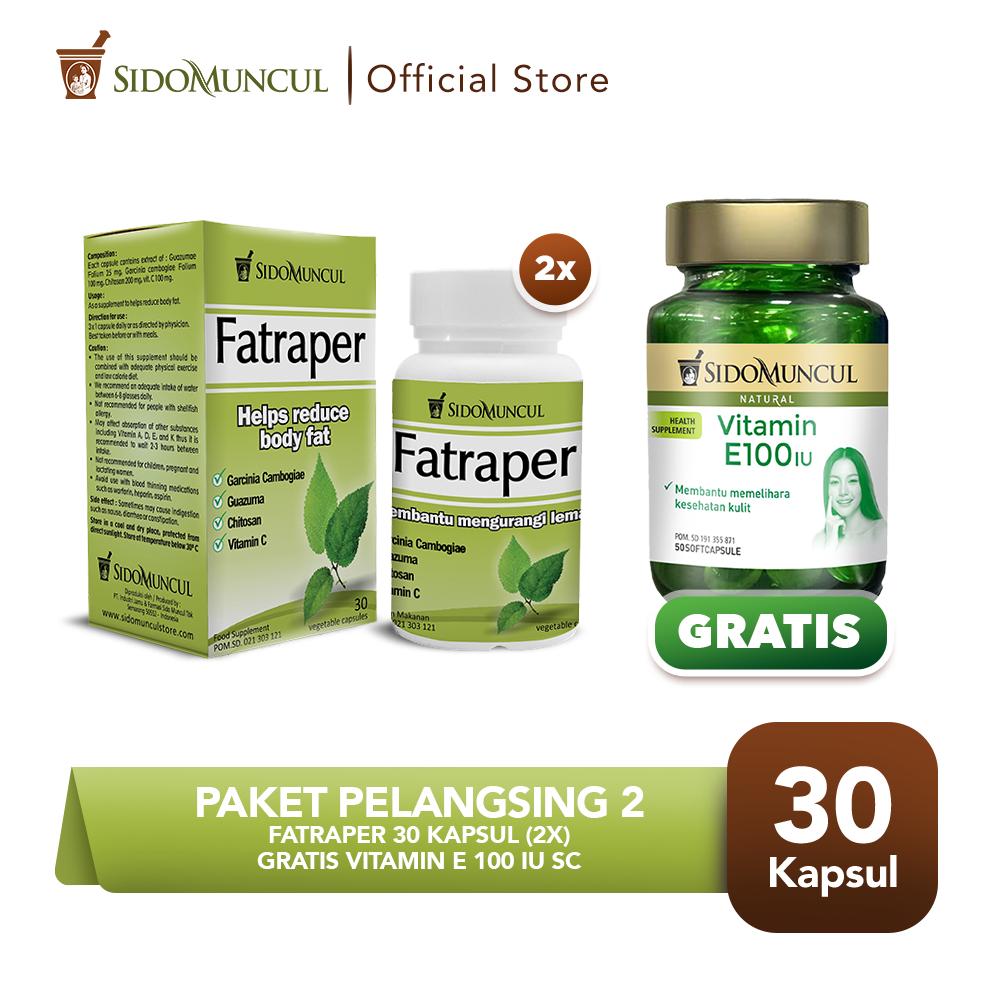 Paket Pelangsing 2 -  Fatraper 30'k (2 btl) FREE Vitamin E 100 IU SC