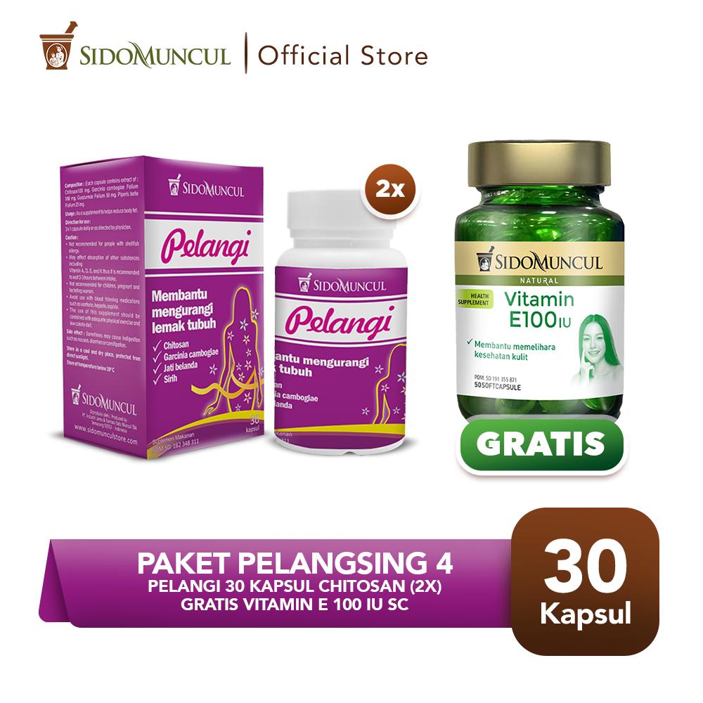 Paket Pelangsing 4- Pelangi 30'k Chitosan (2x) FREE Vitamin E100 IU SC