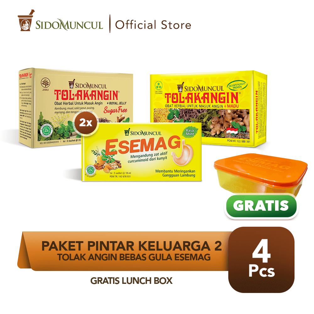 Paket Pintar Keluarga 2 - Tolak Angin Bebas Gula Esemag FREE Lunch Box