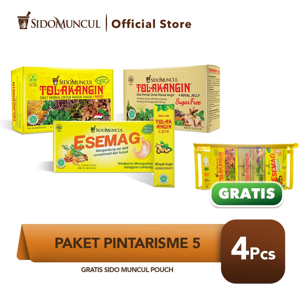 Paket Pintarisme 5 FREE Pouch Tolak Angin Cair Bebas Gula Anak Esemag