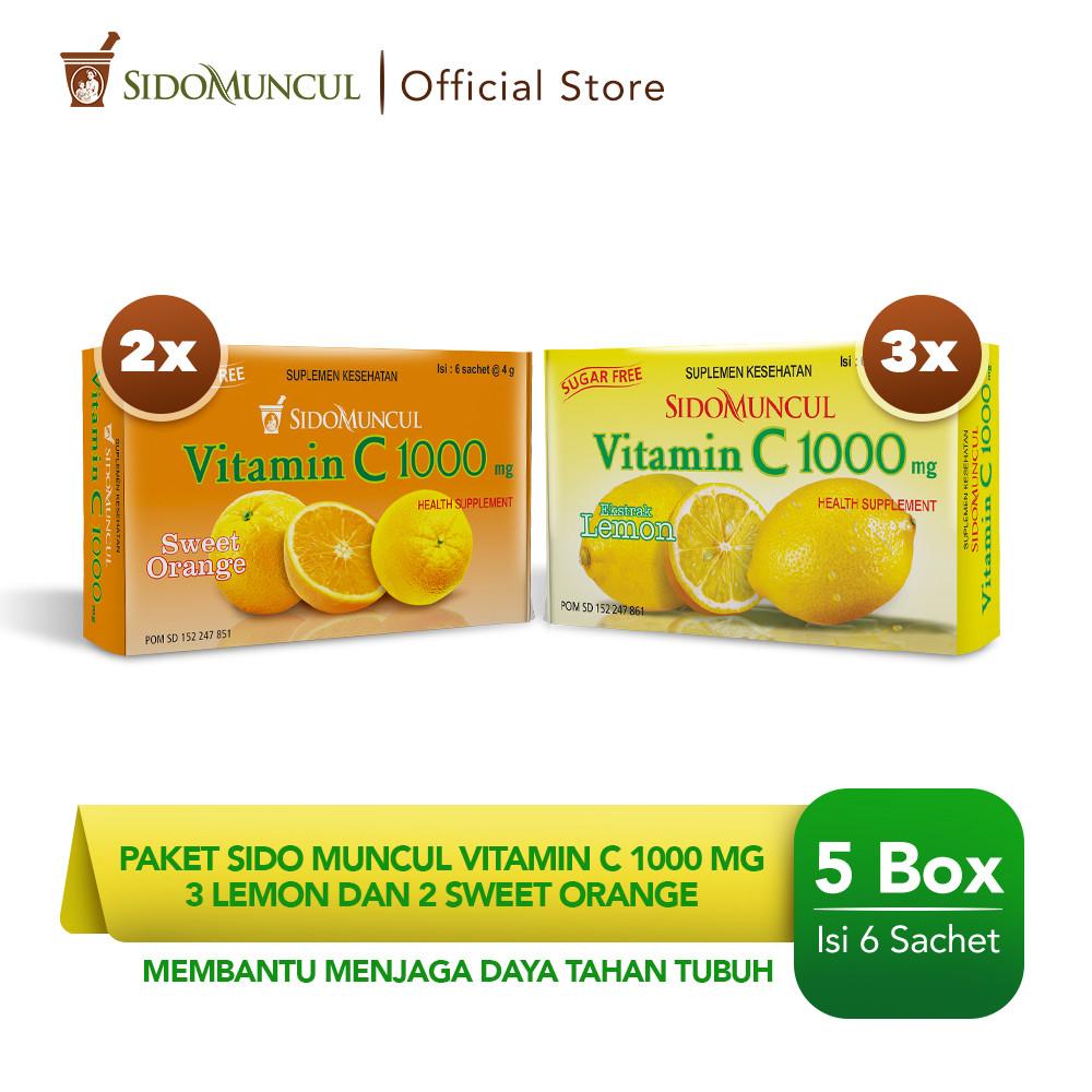 Paket Sido Muncul Vitamin C1000mg 3 Pack Lemon dan 2 Pack Sweet Orange