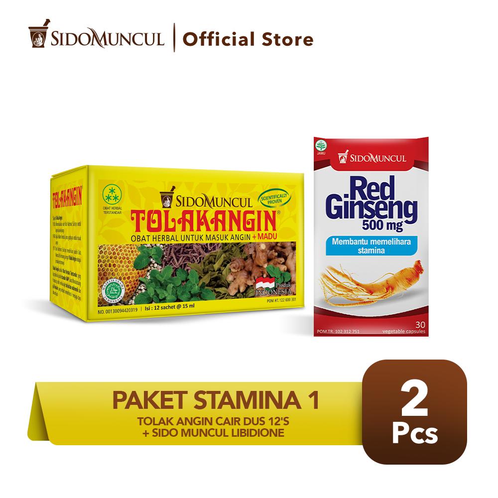 Paket Stamina 2 -Tolak Angin Cair Dus 12's + Sido Muncul Red Ginseng