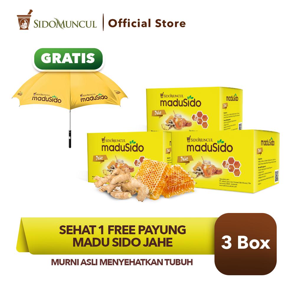 Sehat 1 FREE Payung - Sido Muncul Madu Sido Jahe 3x12's Murni Asli