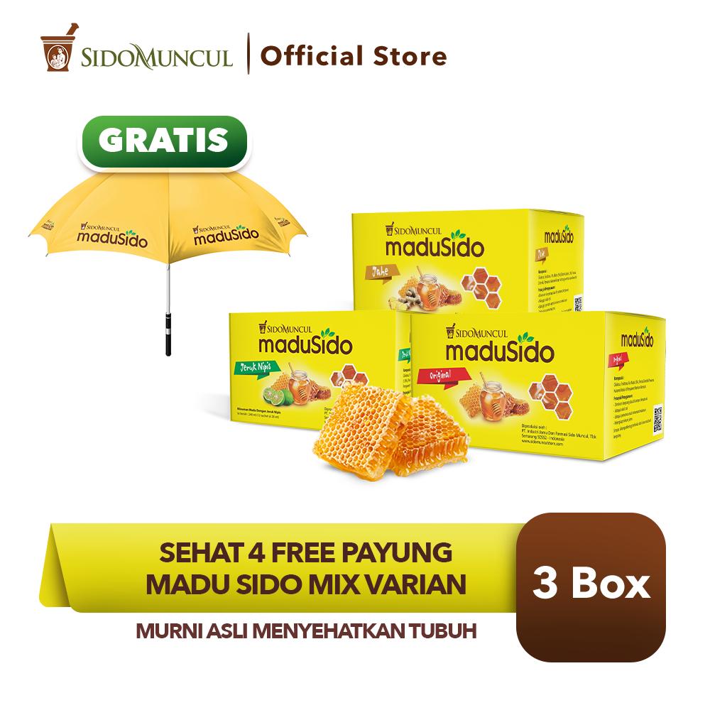 Sehat 4 FREE Payung - Sido Muncul Madu Sido Mix Varian 3x12's Asli