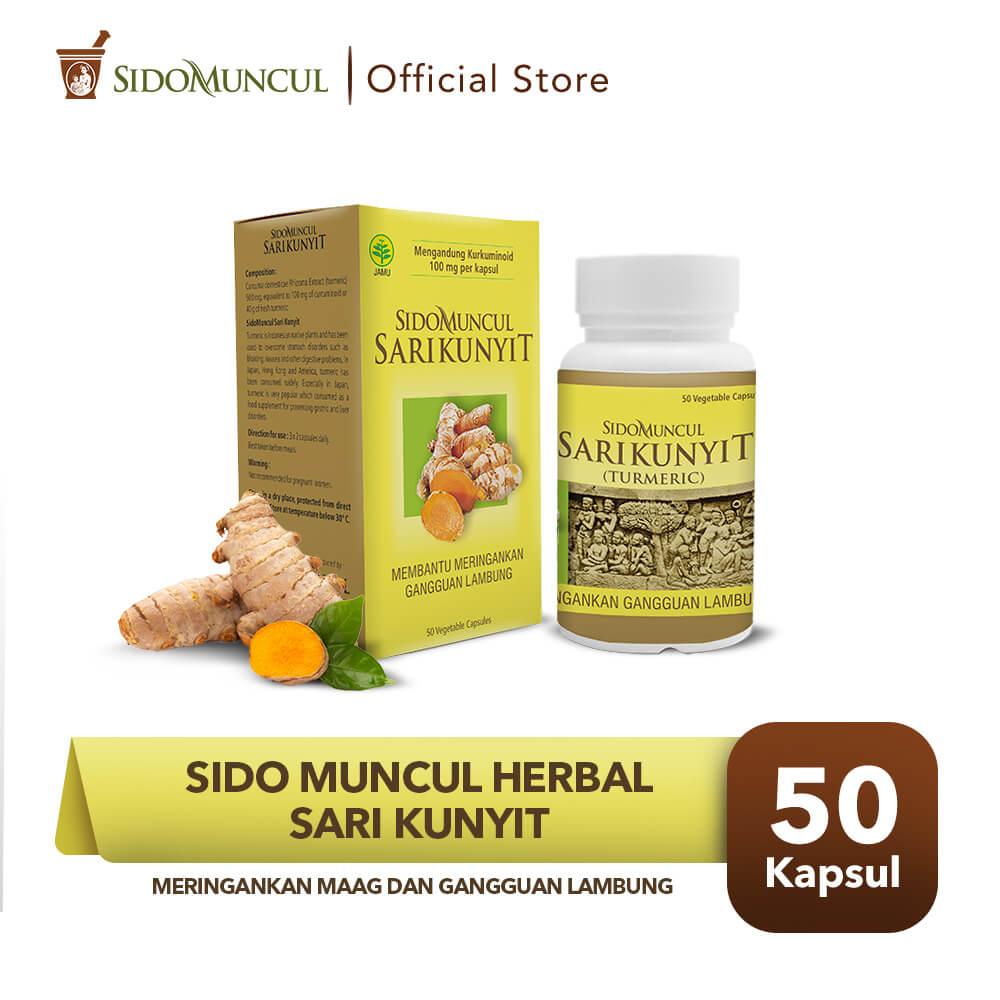 Sido Muncul Herbal Sari Kunyit 50 Kapsul - Sakit Mag Perut Lambung