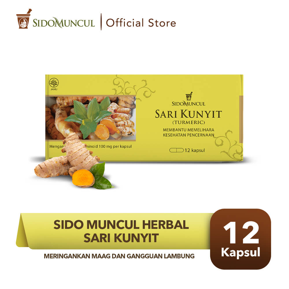 Sido Muncul Herbal Sari Kunyit Strip 12'k - Sakit Maag Perut Lambung