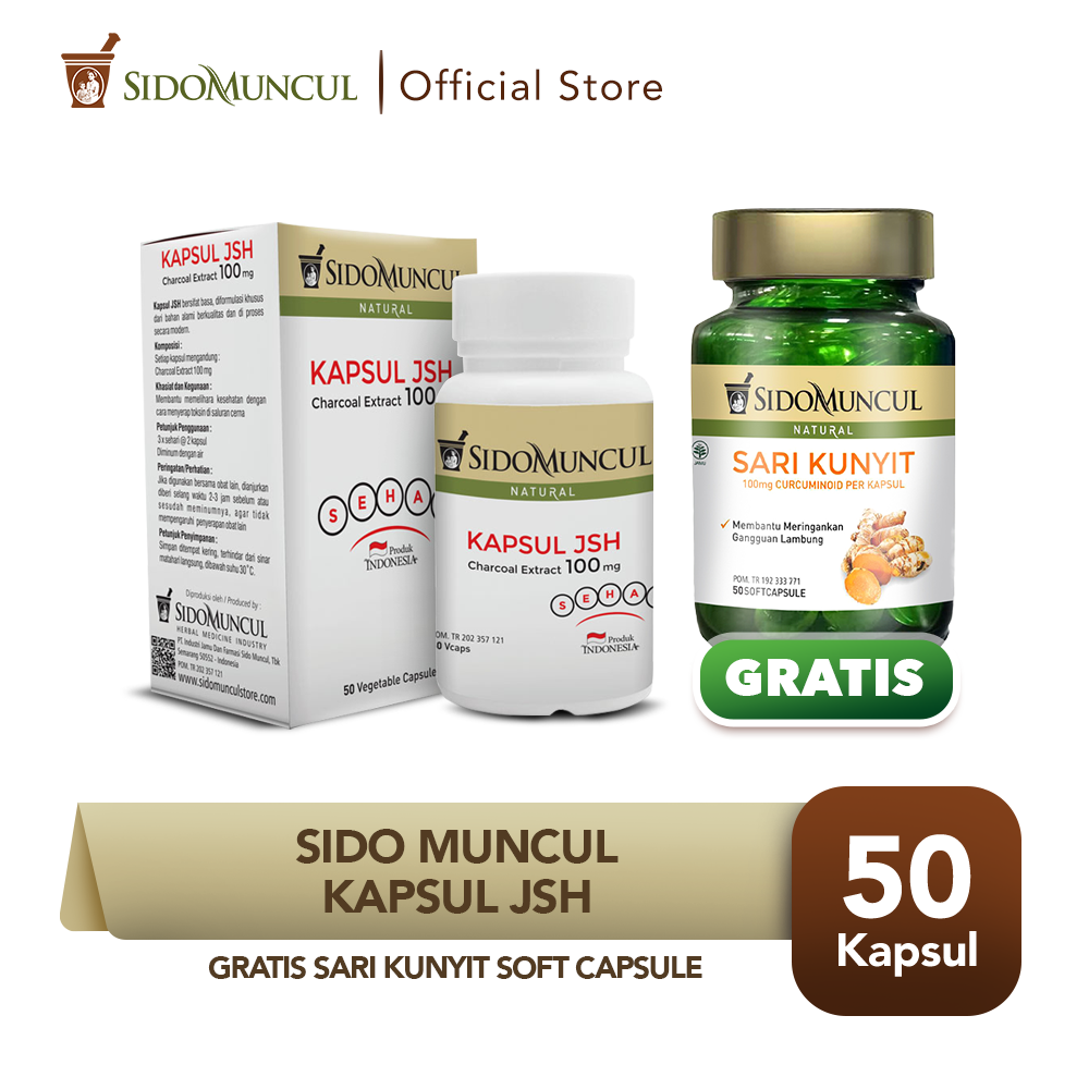 Sido Muncul Kapsul JSH 50k Charcoal FREE Sari Kunyit Soft Capsule