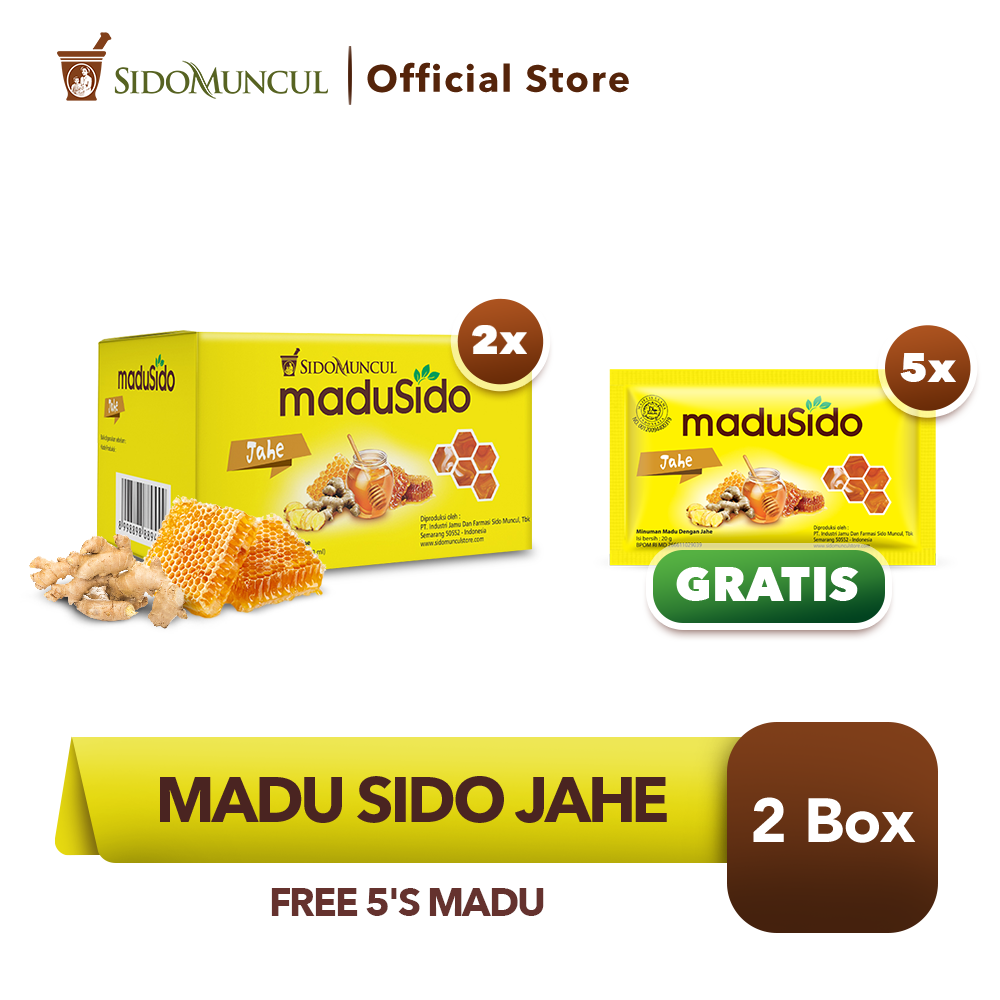 Sido Muncul Madu Sido Jahe 2x10's Murni - FREE 5's Madu