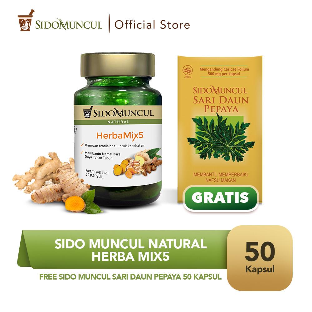 Sido Muncul Natural HerbaMix5 - FREE Sari Daun Pepaya 50 Kapsul