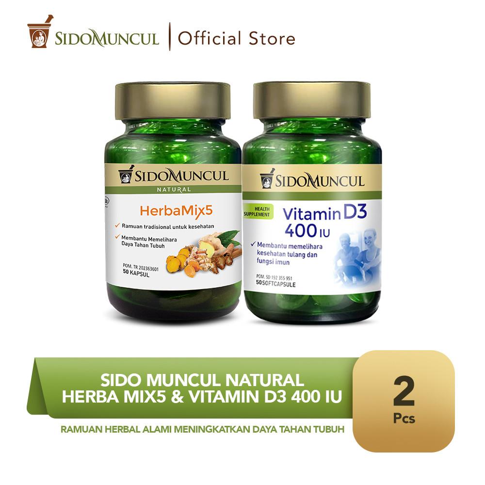 Sido Muncul Natural HerbaMix5 + Vitamin D3 400 IU Soft Capsule