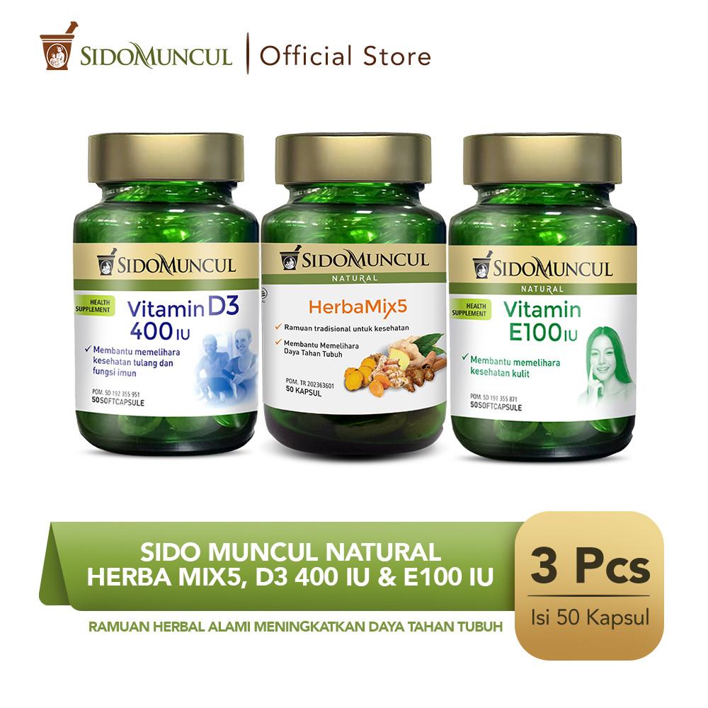 Sido Muncul Natural HerbaMix5 + Vitamin D3 400 IU + Vitamin E100 IU
