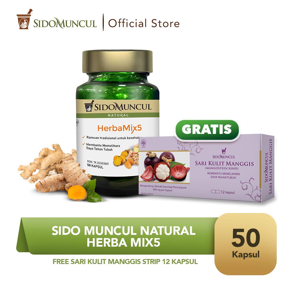 Sido Muncul Natural HerbaMix5 - FREE Sari Kulit Manggis Strip 12'k