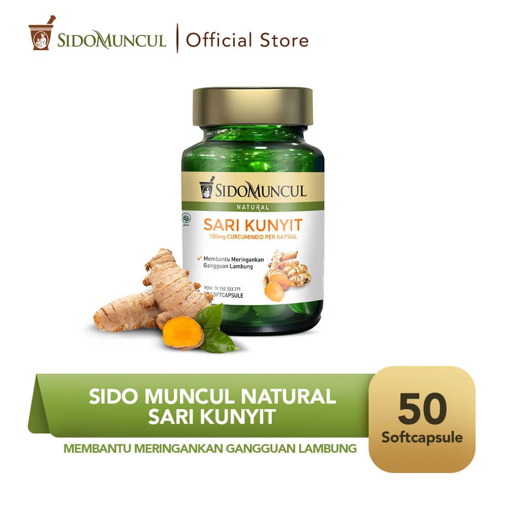 Sido Muncul Natural Sari Kunyit Soft Capsule 50'k - Sakit Maag Perut