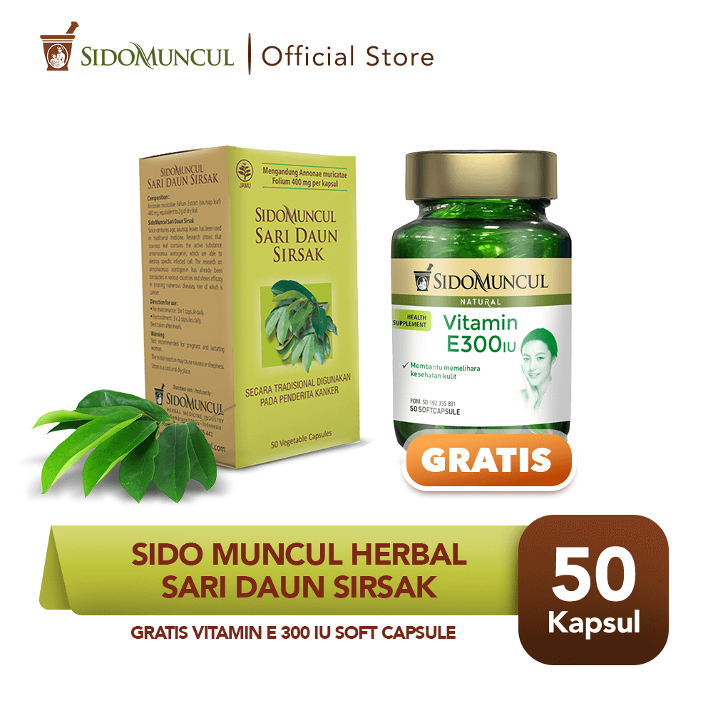 Sido Muncul Sari Daun Sirsak 50'k FREE Vitamin E 300 IU Soft Capsule