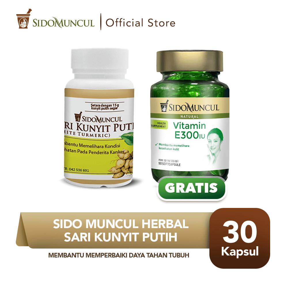 Sido Muncul Sari Kunyit Putih 30'k FREE Vitamin E 300 IU Soft Capsule