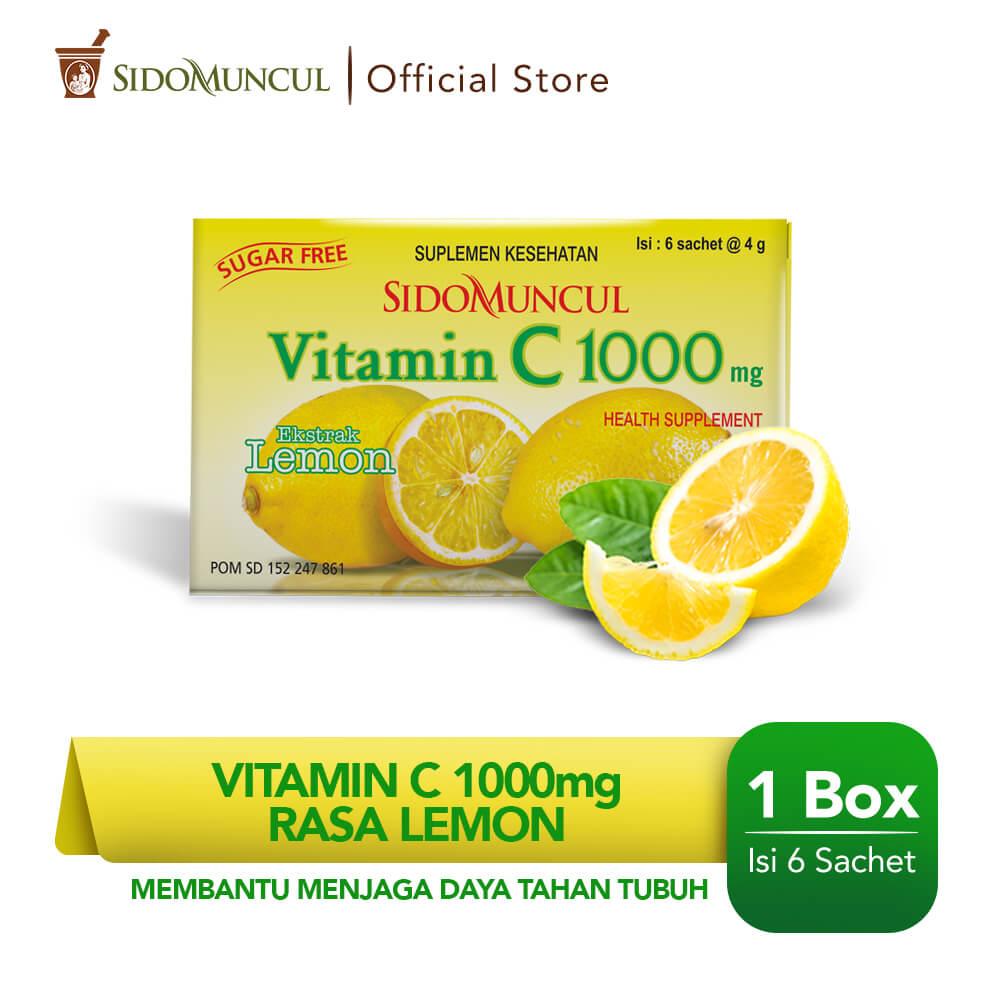 Sido Muncul Vitamin C 1000 Serbuk Lemon 6's - Jaga Daya Tahan Tubuh
