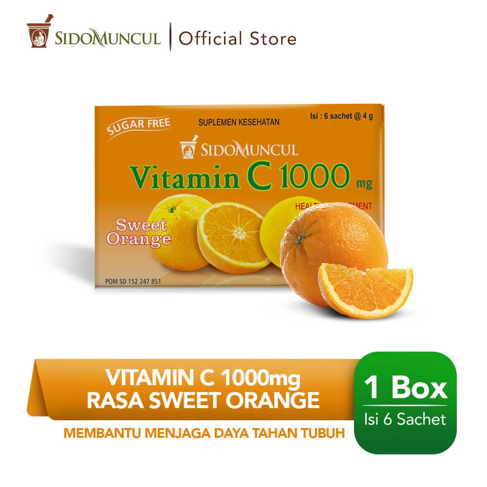 Sido Muncul Vitamin C 1000 Serbuk Orange 6's - Jaga Daya Tahan Tubuh