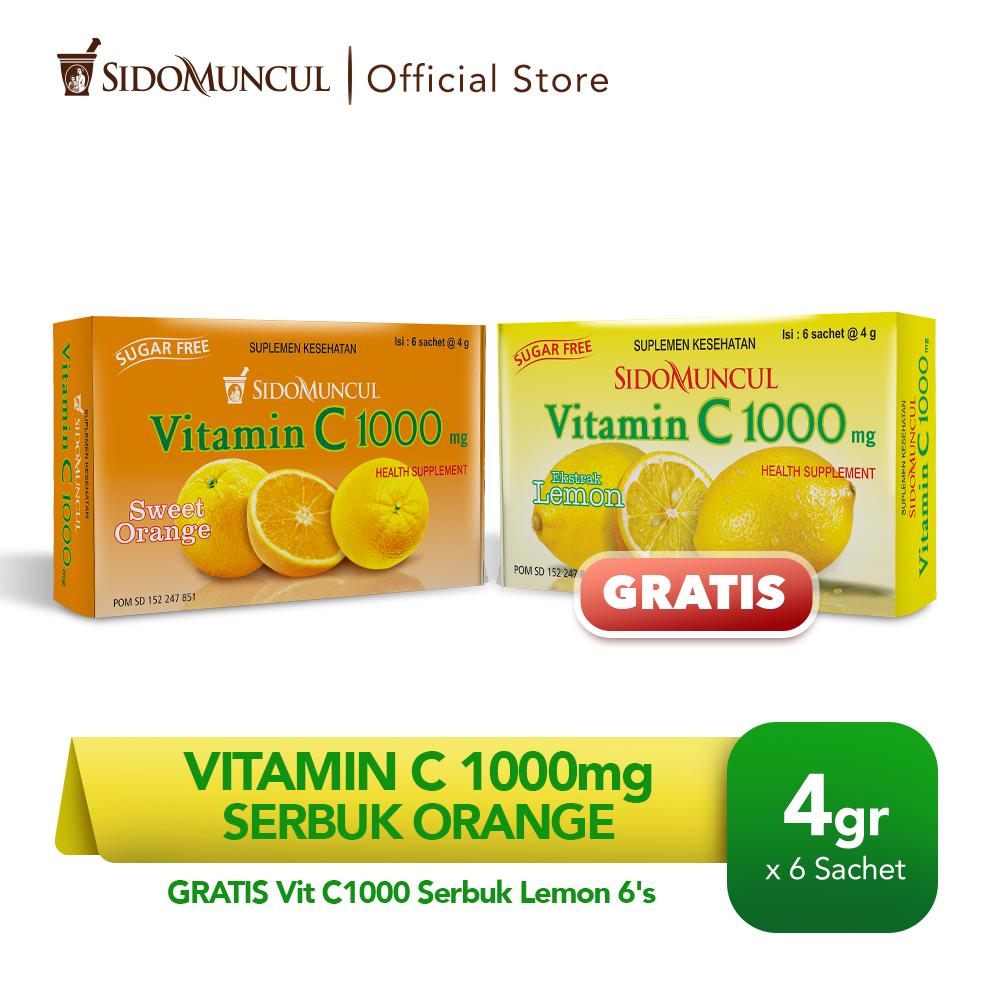 Vitamin C1000 Serbuk Orange 6's - FREE Vit C1000 Serbuk Lemon 6's