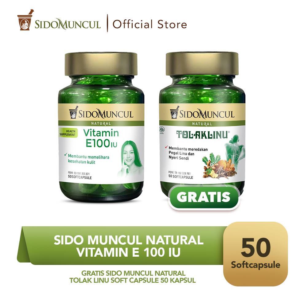 Vitamin E100 IU Soft Capsule 50'k - FREE Tolak Linu Soft Capsule 50'k